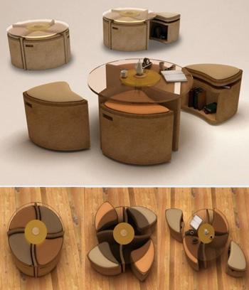 Компактная мягкая мебель стол кресла-табуретки