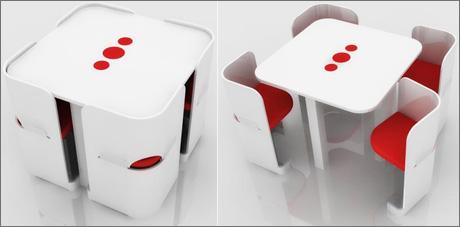 Красивый компактный стол со стульями