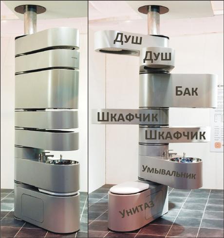 Оригинальный компактный душ туалет умывальник