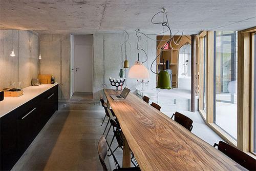 Дом в холме дизайн обеденного стола