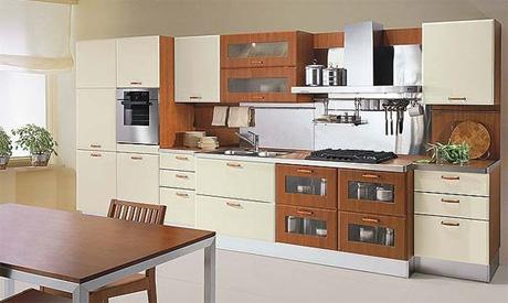 расстановка мебели на кухне в ряд