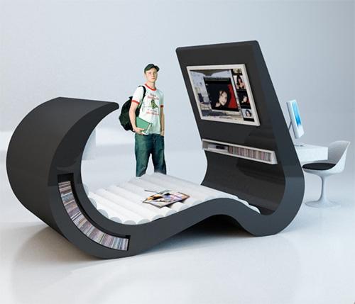 Молодежная мебель кровать стол в стиле Хай Тек