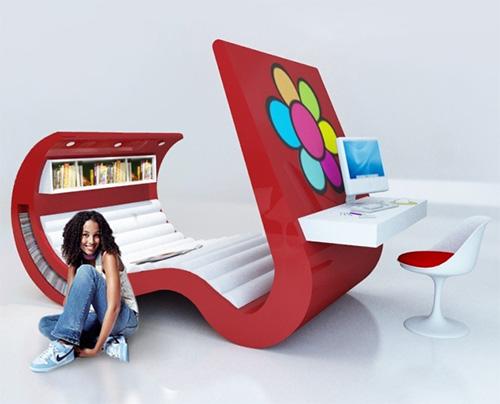 Мебель для тинеджеров все в одном кровать телевизор компьютерный стол кресло