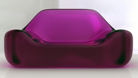 Глянцево-гламурная розовая софа из стекла