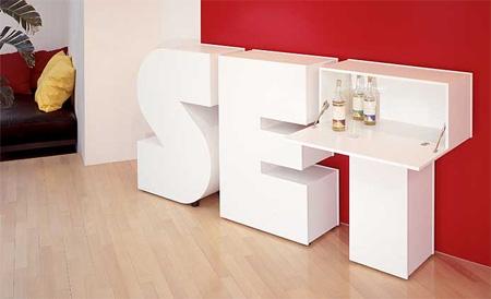 Мебель из буков для минибара в доме