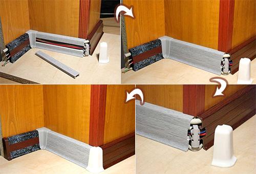 Пошаговая инструкция по установке плинтуса с кабель-каналом, фото