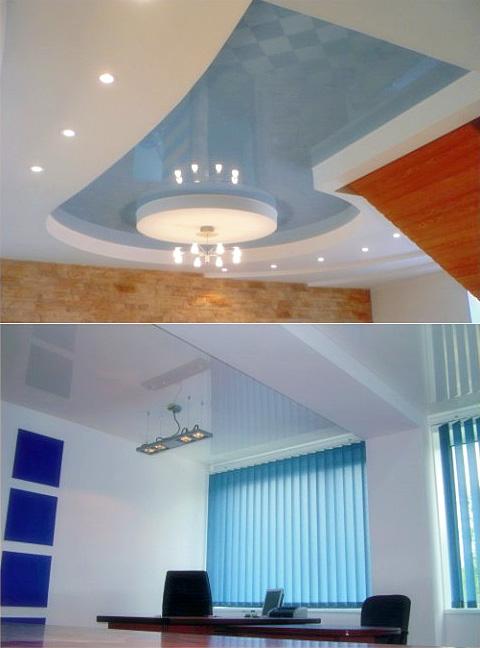 Глянцевые и сатиновые натяжные потолки