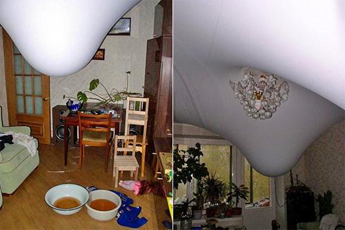 Натяжные потолки могу удерживать 100 литров воды