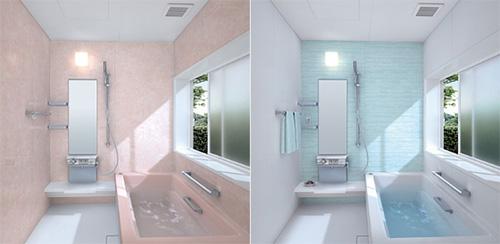 Дизайн компактной ванной комнаты в розовых и голубых тонах