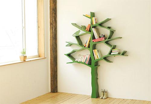Полка для книг в виде зеленого дерева