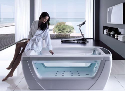 Ванна джакузи для зрелищ с стеклянными вставками