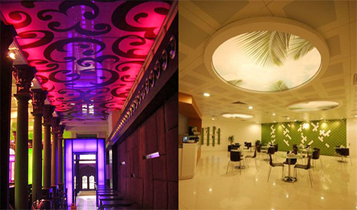 Полупрозрачные натяжные потолки с рисунком подсвечивается светодиодами
