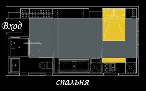 Чертеж уникальной квартиры: спальня