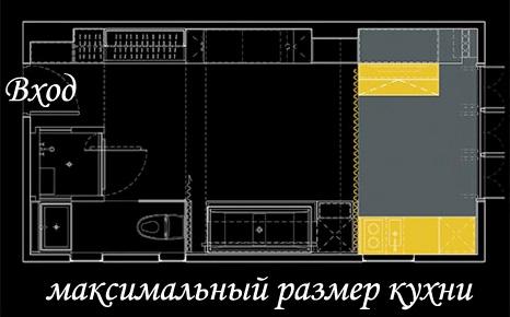 План маленькой квартиры: кухня в ее максимальном размере