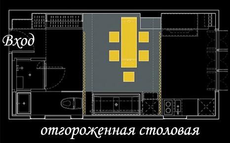 Планировка удивительной стильной комнаты: отгороженная столовая