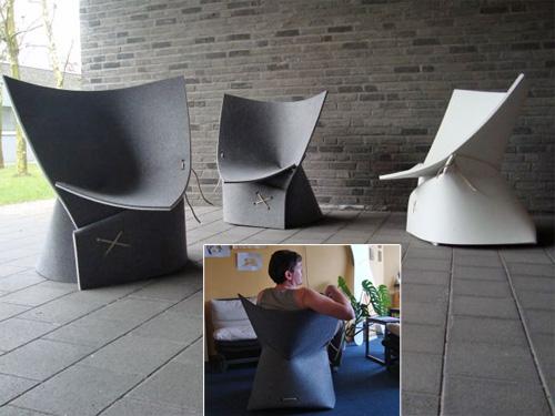 Кресло из квадратного куска синтетического войлока