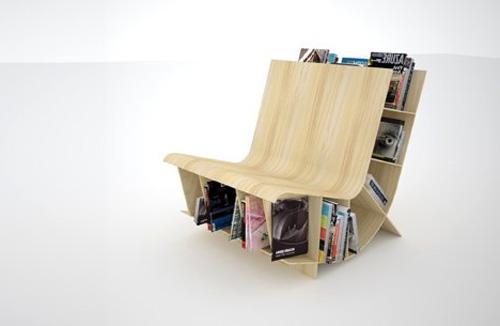 Деревянное кресло книжная полка