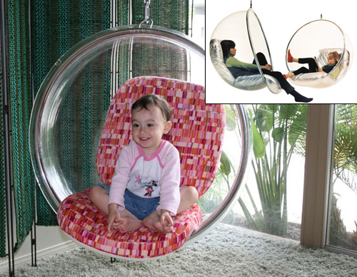 Подвесное стеклянное кресло качели