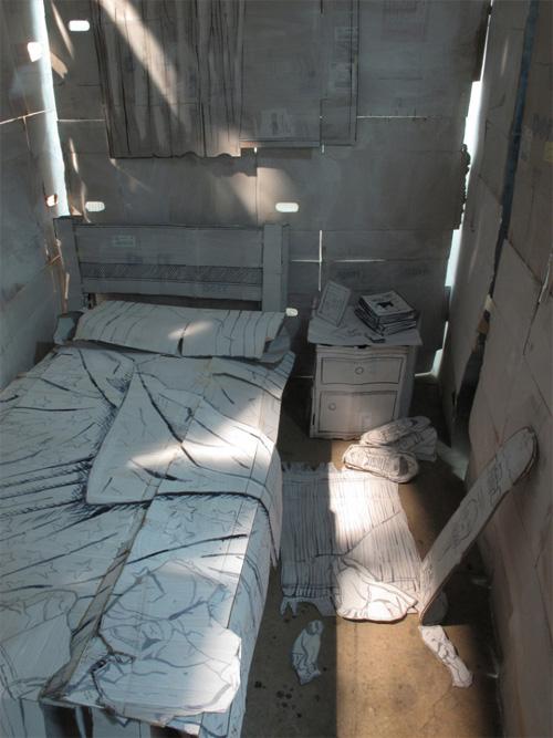 Кровать, тумбочка, занавески из бумаги