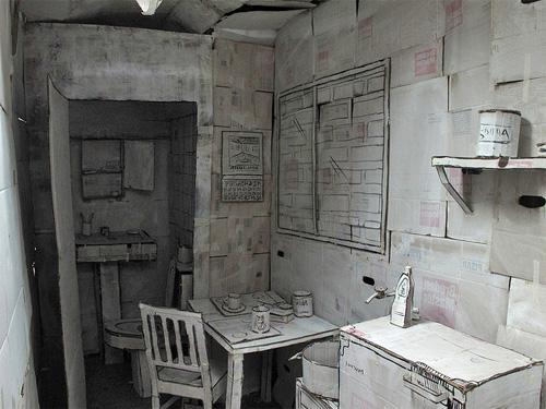 Стол, стул, умывальник, ванная из бумаги