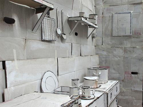Электрическая плита, тарелки, кастрюли из картона