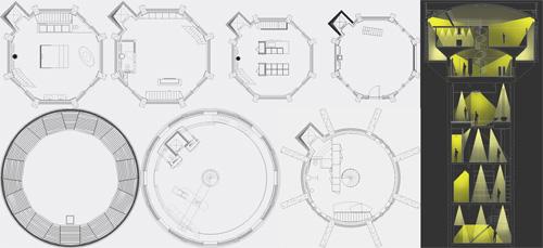 План-схема жилого дома внутри старой водонапорной башни