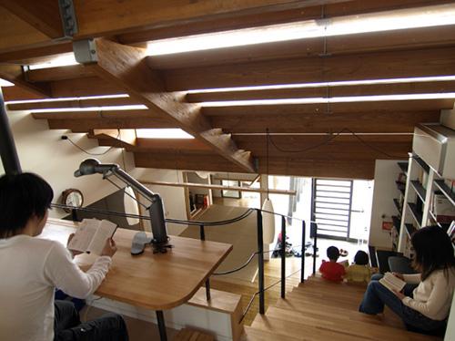 Вид со второго этажа интерьера дома под ступеньками