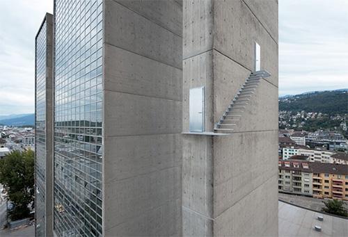 Вид лестницы для перекуров для смелых работников