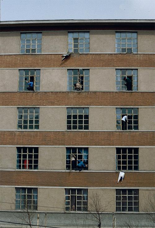 Китайские студенты моют окна снаружи общаги
