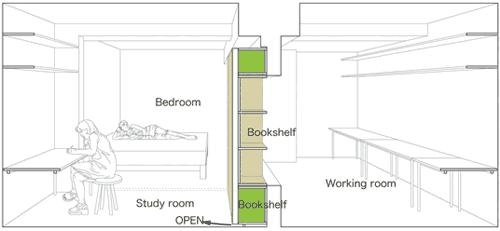 Схема комнаты с открывающейся стеной с 22:00 до 9:00