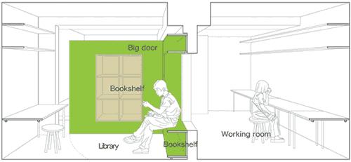 Схема комнаты с открывающейся стеной с 9:00 до 22:00