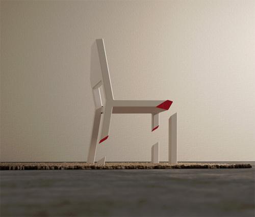 Срезанный стул на одной ножке